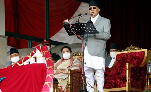 प्रधानमन्त्री केपी शर्मा ओली शुक्रबार ७१ औँ राष्ट्रिय प्रजातन्त्र दिवसका अवसरमा टुँडिखेलमा आयोजित समारोहमा ।